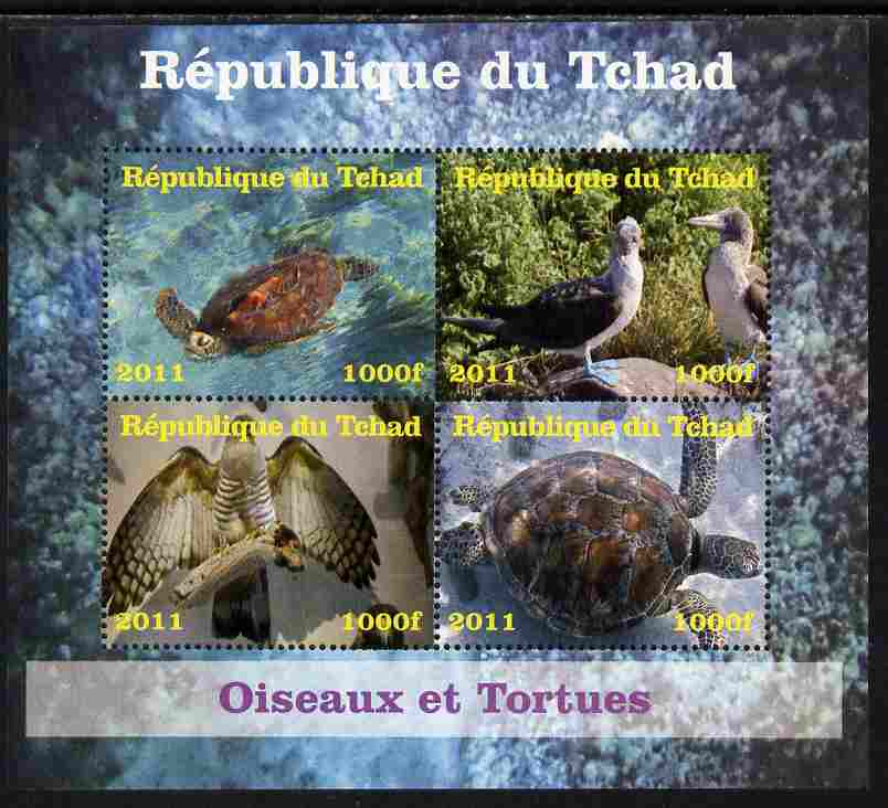 Chad 2011 Birds & Turtles perf sheetlet containing 4 values unmounted mint. Note this item is privately produced and is offered purely on its thematic appeal