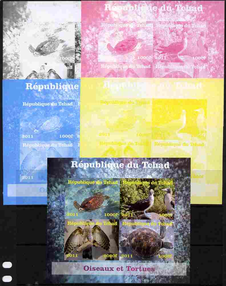 Chad 2011 Birds & Turtles sheetlet containing 4 values - the set of 5 imperf progressive proofs comprising the 4 individual colours plus all 4-colour composite, unmounted mint