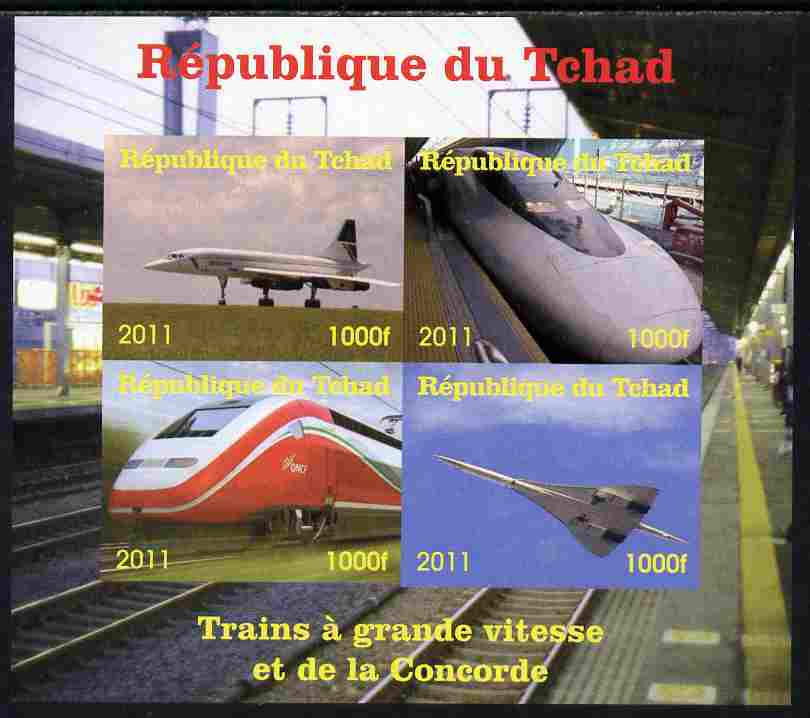 Chad 2011 Trains & Concorde imperf sheetlet containing 4 values unmounted mint. Note this item is privately produced and is offered purely on its thematic appeal, stamps on railways, stamps on aviation, stamps on concorde