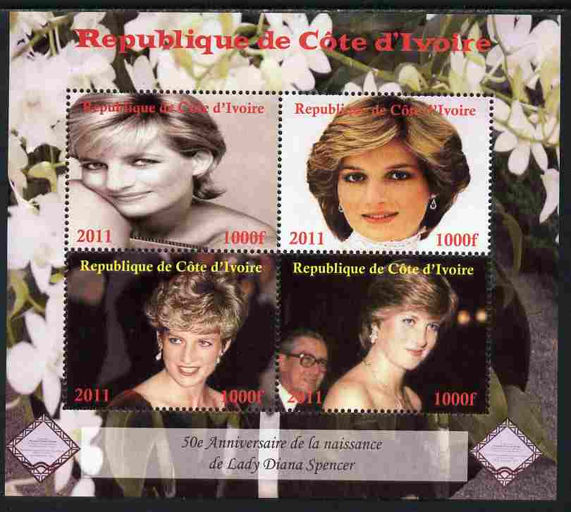 Ivory Coast 2011 50th Birth Anniversary of Princess Diana perf sheetlet containing 4 values unmounted mint. Note this item is privately produced and is offered purely on its thematic appeal