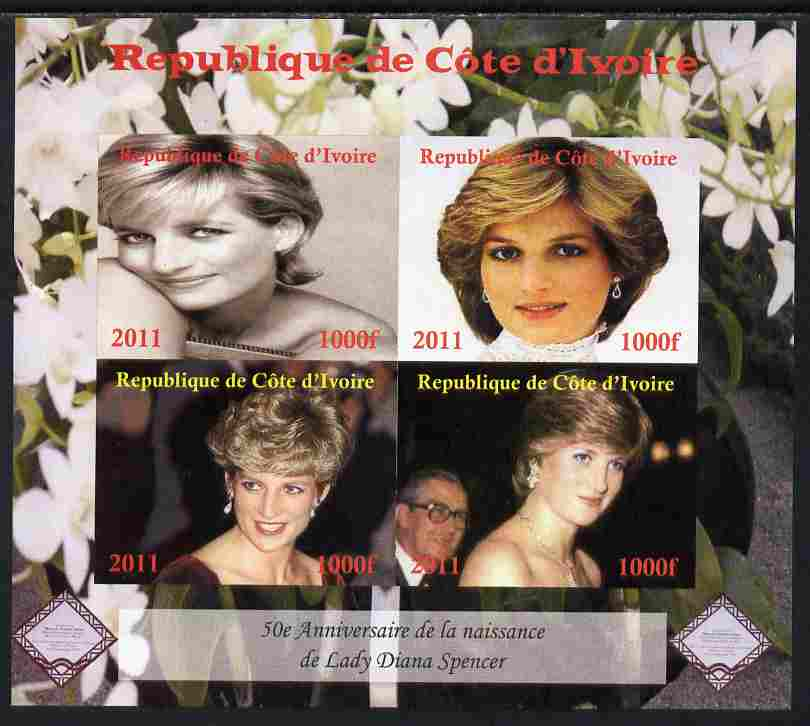 Ivory Coast 2011 50th Birth Anniversary of Princess Diana imperf sheetlet containing 4 values unmounted mint. Note this item is privately produced and is offered purely o...