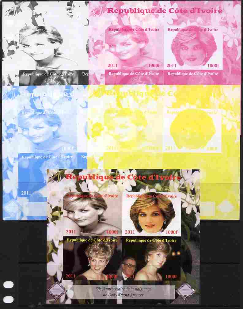 Ivory Coast 2011 50th Birth Anniversary of Princess Diana sheetlet containing 4 values - the set of 5 imperf progressive proofs comprising the 4 individual colours plus a...