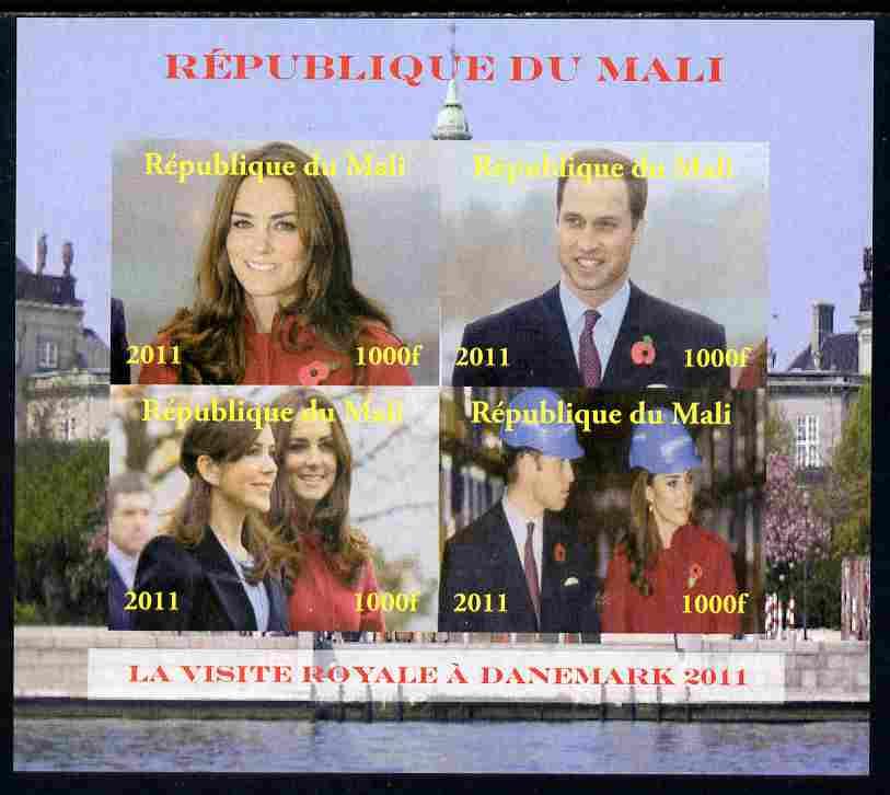Mali 2011 Royal Visit - William & Kate Visit to Denmark #1 imperf sheetlet containing 4 values unmounted mint. Note this item is privately produced and is offered purely on its thematic appeal, it has no postal validity, stamps on royalty, stamps on royal visit, stamps on william, stamps on kate