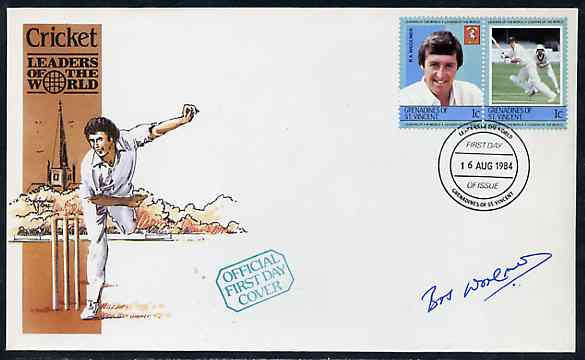 St Vincent - Grenadines 1984 Cricketers #1 R A Woolmer 1c se-tenant pair (SG 291a) on illustrated cover with first day cancel signed by Woolmer