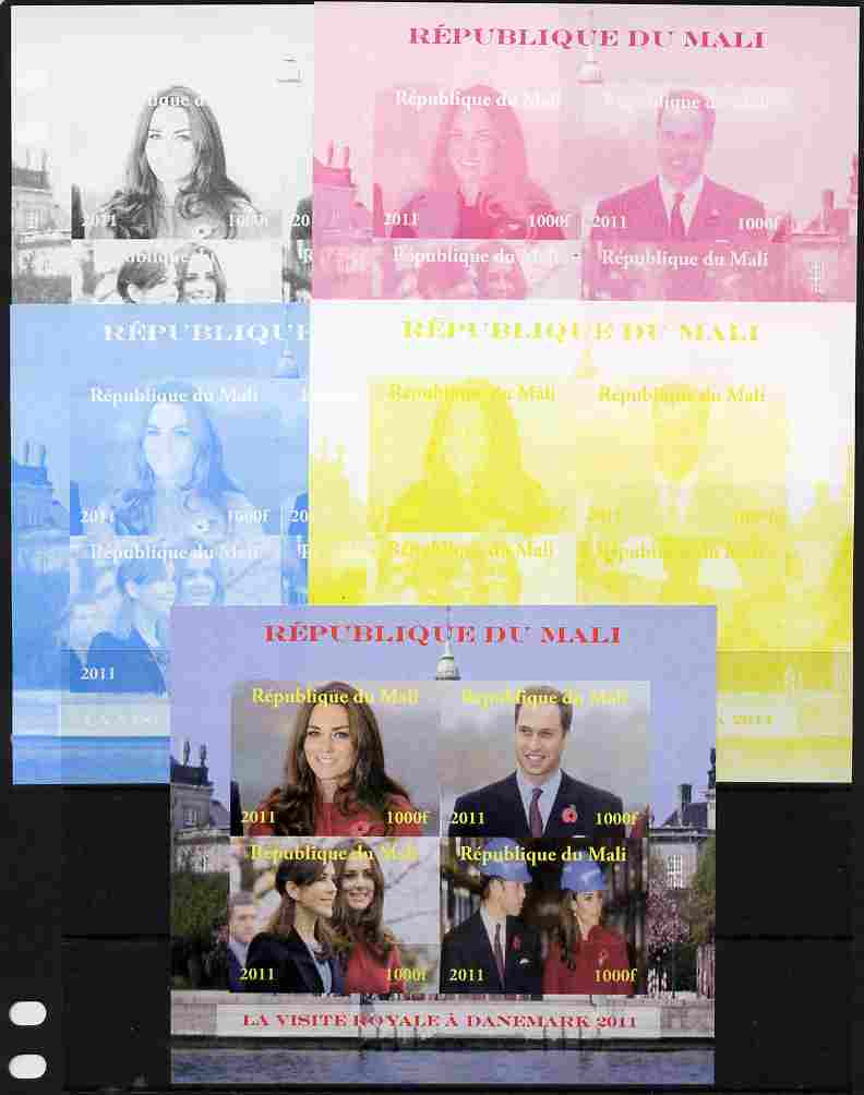 Mali 2011 Royal Visit - William & Kate Visit to Denmark #1 sheetlet containing 4 values - the set of 5 imperf progressive proofs comprising the 4 individual colours plus all 4-colour composite, unmounted mint
