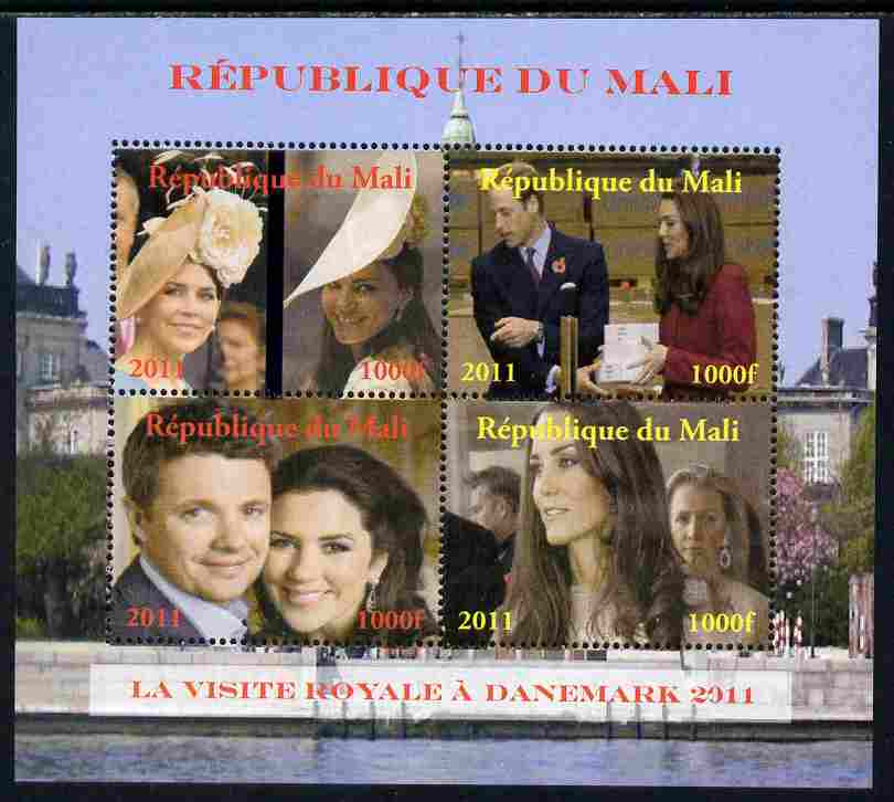 Mali 2011 Royal Visit - William & Kate Visit to Denmark #2 perf sheetlet containing 4 values unmounted mint. Note this item is privately produced and is offered purely on its thematic appeal, it has no postal validity