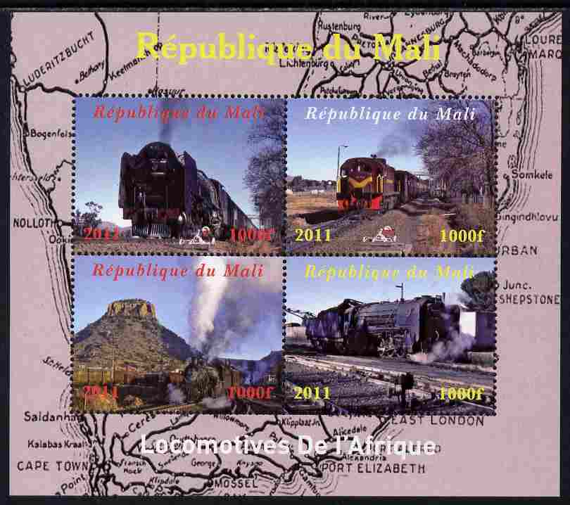 Mali 2011 Trains of Africa perf sheetlet containing 4 values unmounted mint. Note this item is privately produced and is offered purely on its thematic appeal