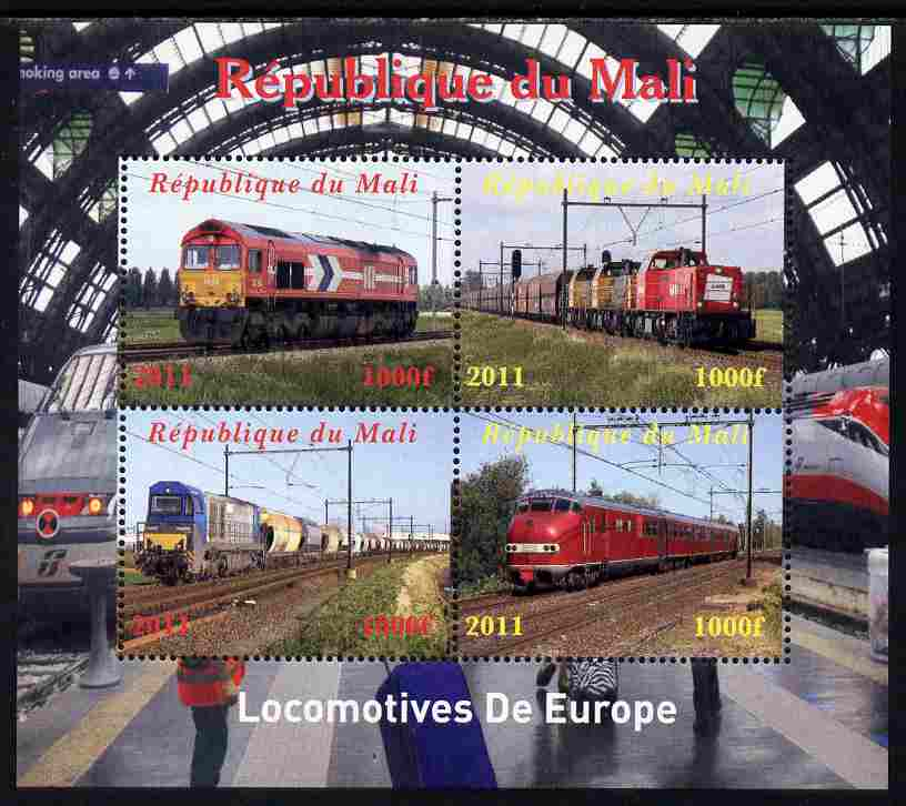 Mali 2011 Trains of Europe perf sheetlet containing 4 values unmounted mint. Note this item is privately produced and is offered purely on its thematic appeal
