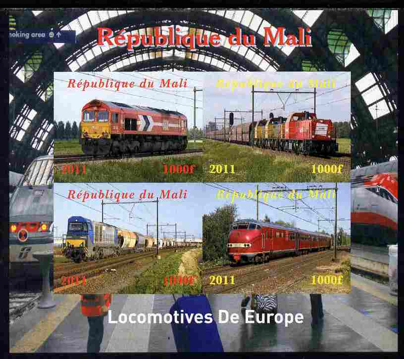 Mali 2011 Trains of Europe imperf sheetlet containing 4 values unmounted mint. Note this item is privately produced and is offered purely on its thematic appeal, it has no postal validity