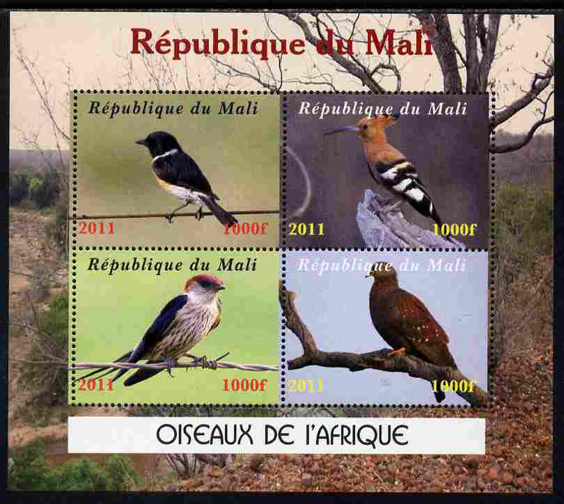 Mali 2011 Birds of Africa perf sheetlet containing 4 values unmounted mint. Note this item is privately produced and is offered purely on its thematic appeal