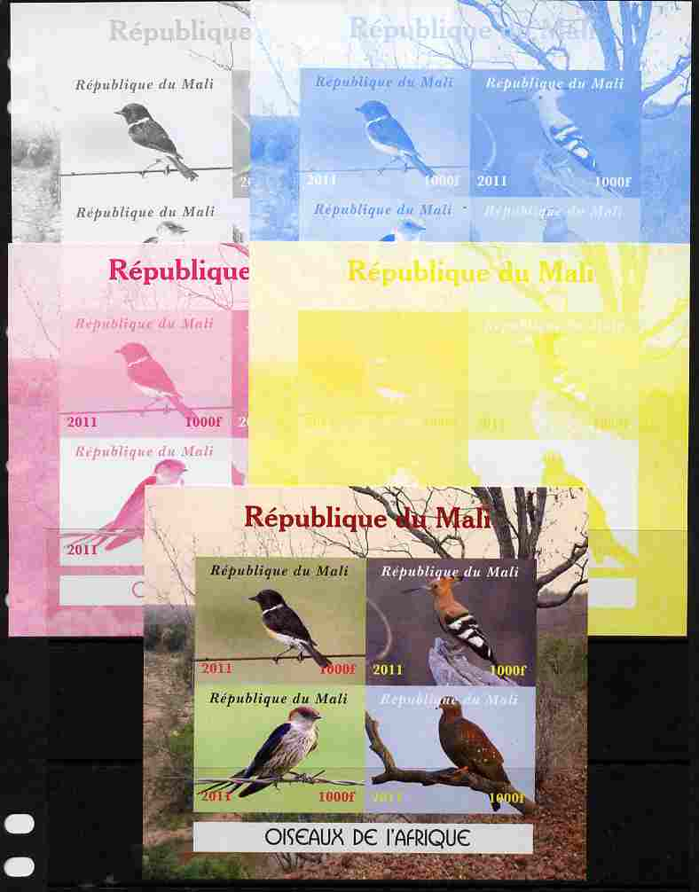 Mali 2011 Birds of Africa sheetlet containing 4 values - the set of 5 imperf progressive proofs comprising the 4 individual colours plus all 4-colour composite, unmounted mint