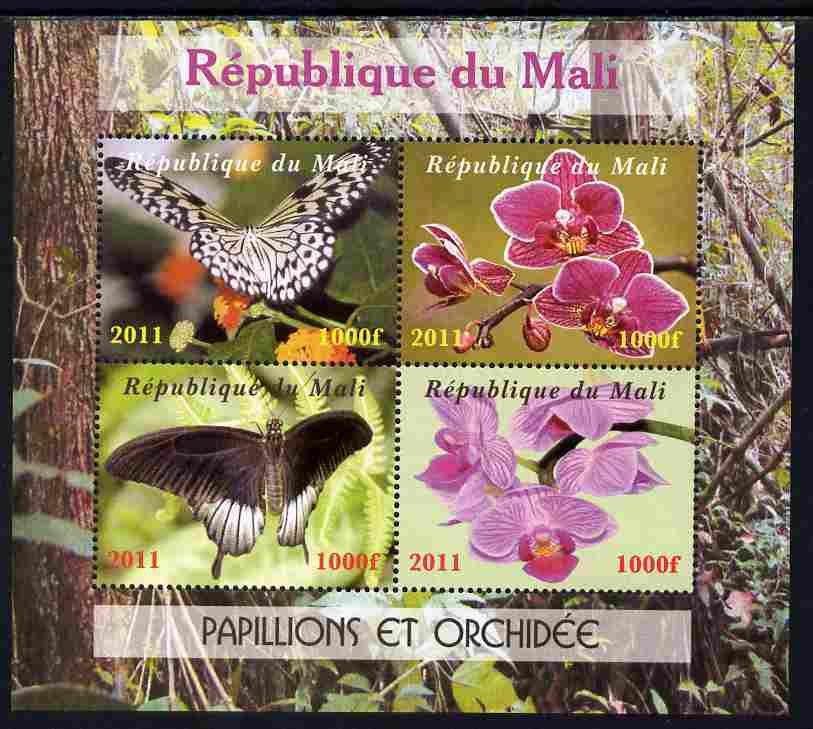 Mali 2011 Butterflies & Orchids perf sheetlet containing 4 values unmounted mint. Note this item is privately produced and is offered purely on its thematic appeal, it has no postal validity