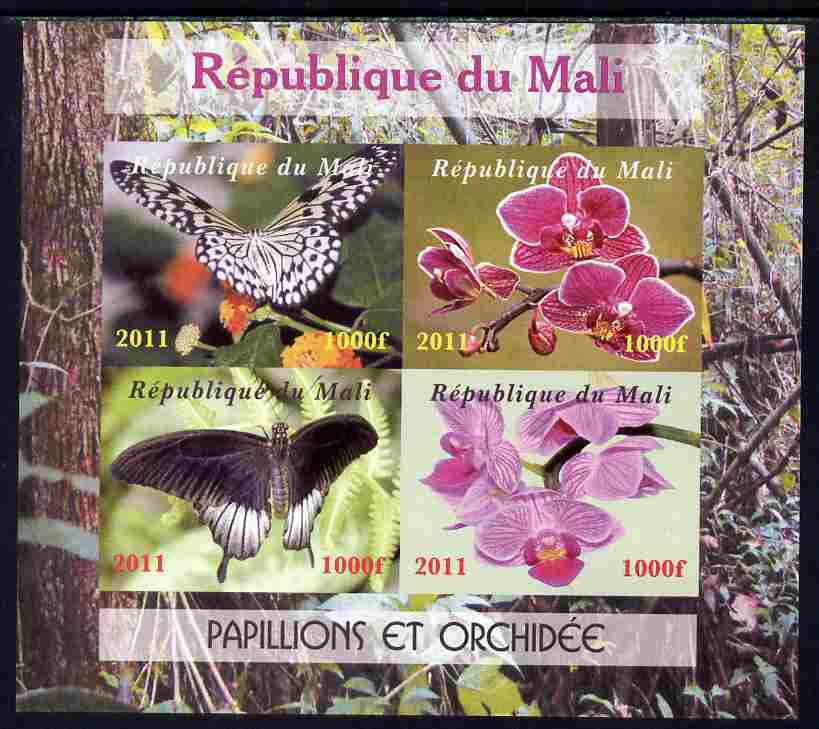 Mali 2011 Butterflies & Orchids imperf sheetlet containing 4 values unmounted mint. Note this item is privately produced and is offered purely on its thematic appeal, it has no postal validity