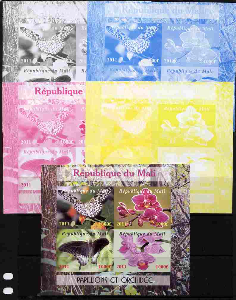 Mali 2011 Butterflies & Orchids sheetlet containing 4 values - the set of 5 imperf progressive proofs comprising the 4 individual colours plus all 4-colour composite, unmounted mint