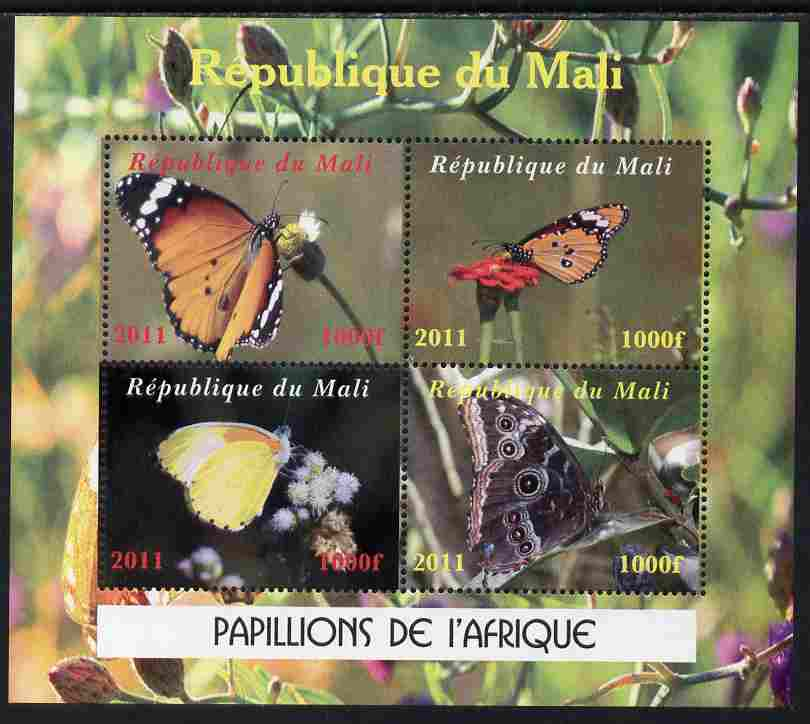 Mali 2011 Butterflies of Africa perf sheetlet containing 4 values unmounted mint. Note this item is privately produced and is offered purely on its thematic appeal