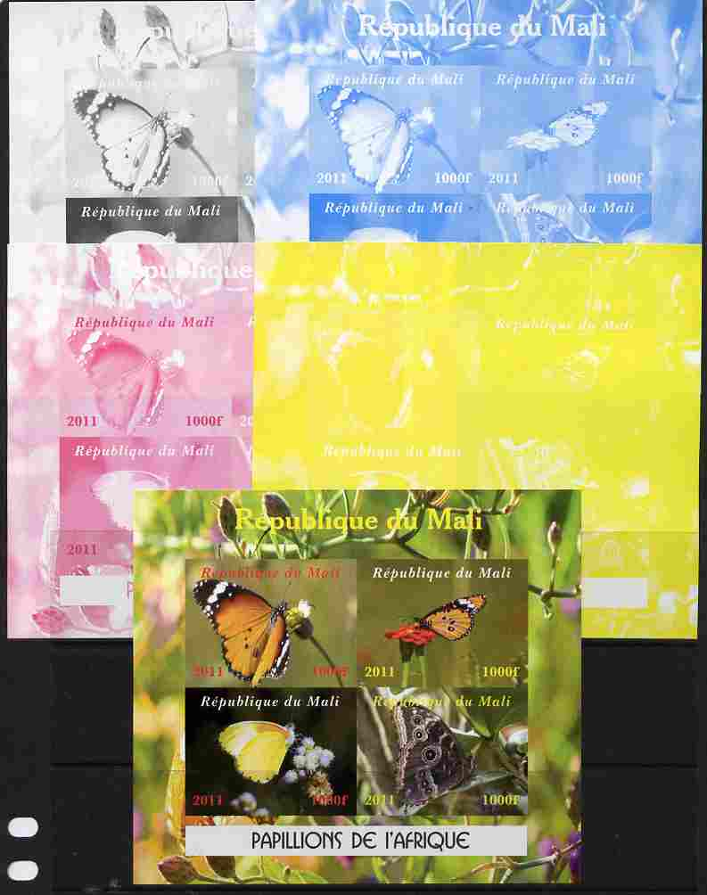 Mali 2011 Butterflies of Africa sheetlet containing 4 values - the set of 5 imperf progressive proofs comprising the 4 individual colours plus all 4-colour composite, unmounted mint
