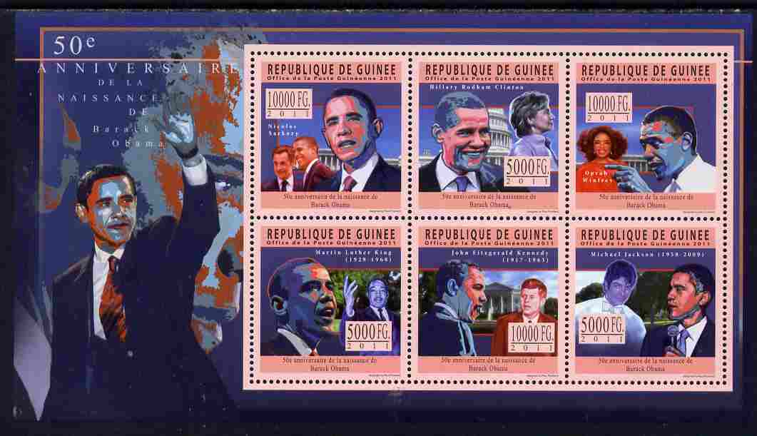 Guinea - Conakry 2011 50th Birth Anniversary of Barack Obama perf sheetlet containing 6 values unmounted mint Michel 8488-93