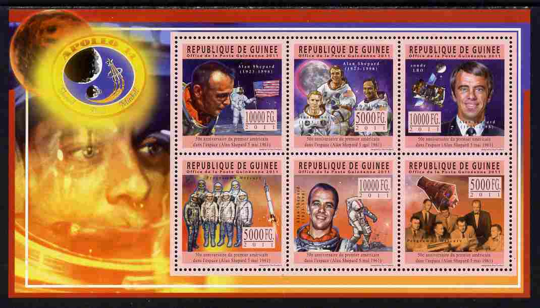 Guinea - Conakry 2011 50th Anniversary of First American in Space perf sheetlet containing 6 values unmounted mint Michel 8446-51