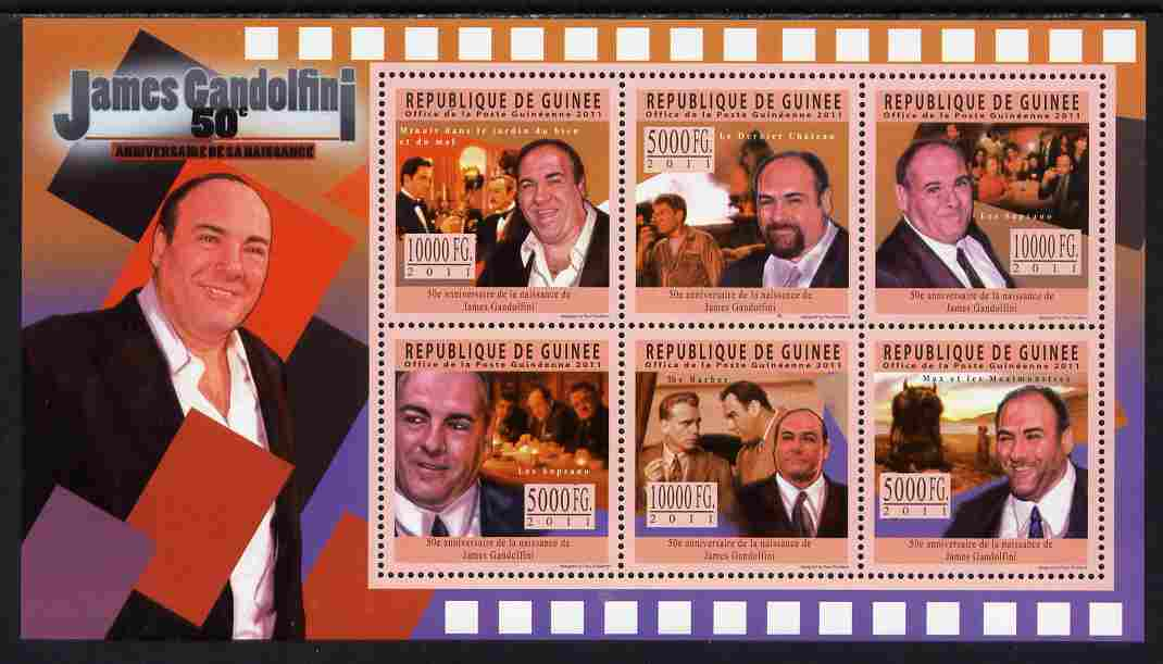 Guinea - Conakry 2011 50th Birth Anniversary of James Gandolfini perf sheetlet containing 6 values unmounted mint Michel 8474-79