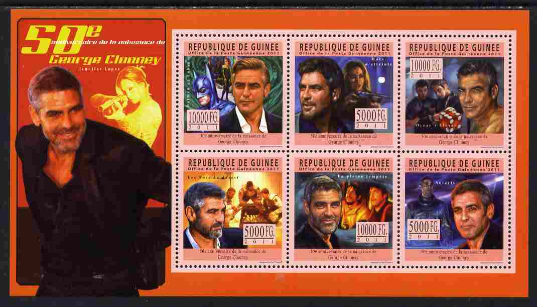 Guinea - Conakry 2011 50th Birth Anniversary of George Clooney perf sheetlet containing 6 values unmounted mint Michel 8481-86