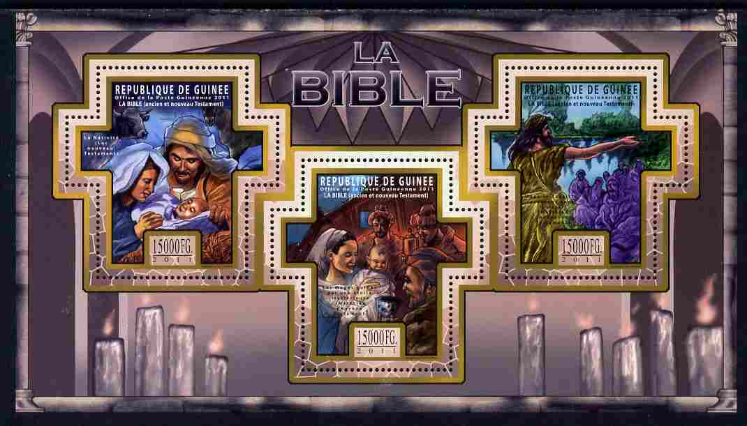 Guinea - Conakry 2011 The Bible #4 perf sheetlet containing 3 Cross shaped values unmounted mint Michel 8502-04