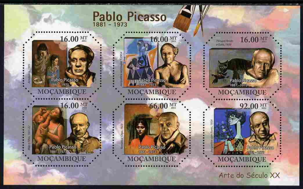 Mozambique 2011 Paintings by Pablo Picasso perf sheetlet containing six octagonal shaped values unmounted mint