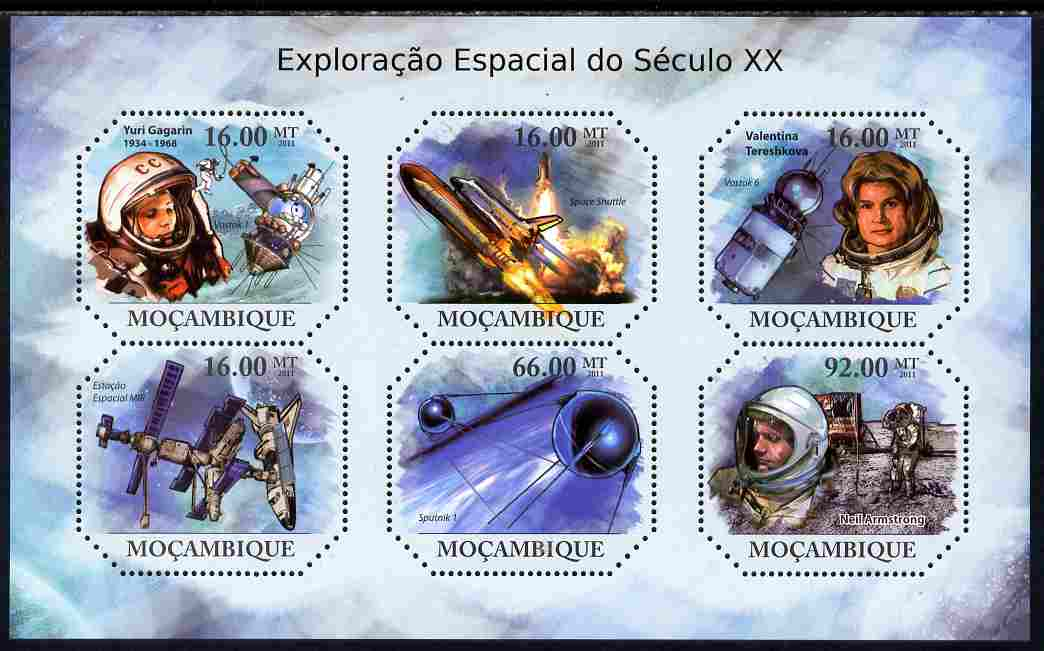 Mozambique 2011 Space Exploration perf sheetlet containing six octagonal shaped values unmounted mint