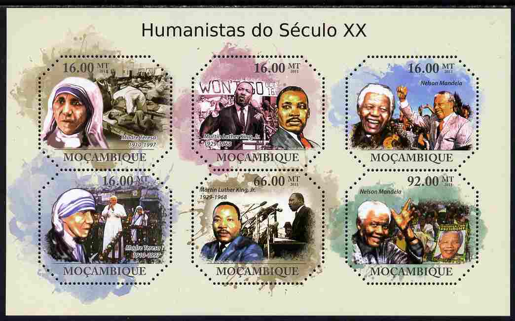 Mozambique 2011 Humanitarians of the 20th Century perf sheetlet containing six octagonal shaped values unmounted mint