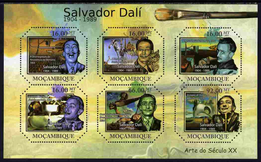 Mozambique 2011 Paintings by Salvador Dali perf sheetlet containing six octagonal shaped values unmounted mint , stamps on shaped, stamps on personalities, stamps on arts, stamps on dali, stamps on