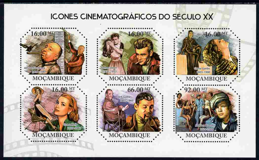 Mozambique 2011 Cinema Icons of the 20th Century perf sheetlet containing six octagonal shaped values unmounted mint