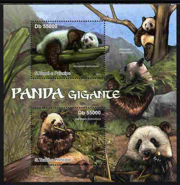 St Thomas & Prince Islands 2011 Giant Pandas perf sheetlet containing 2 values unmounted mint