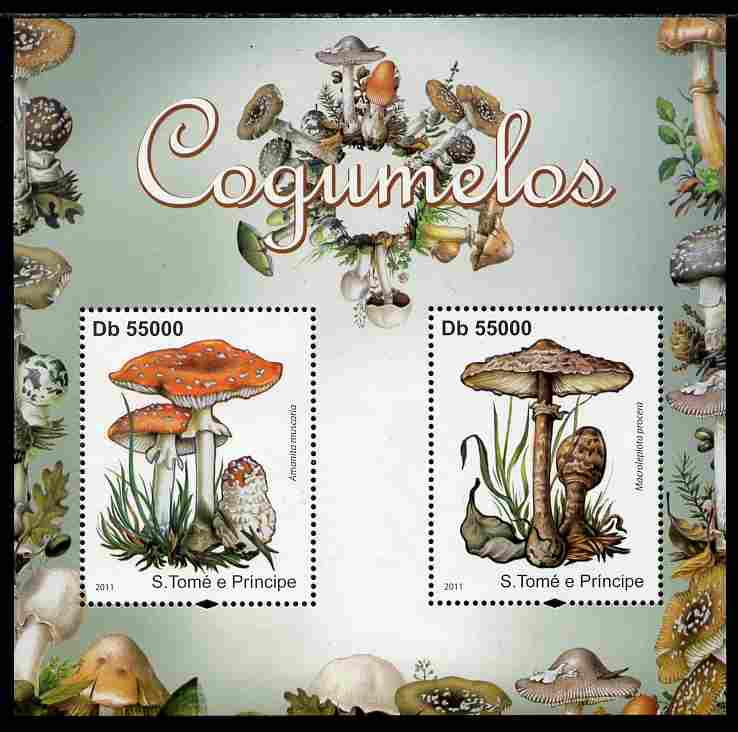 St Thomas & Prince Islands 2011 Poisonous Mushrooms perf sheetlet containing 2 values unmounted mint