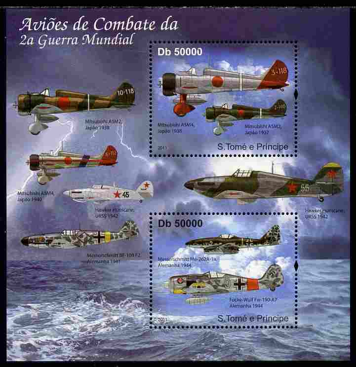 St Thomas & Prince Islands 2011 Aircraft of WW2 perf sheetlet containing 2 values unmounted mint
