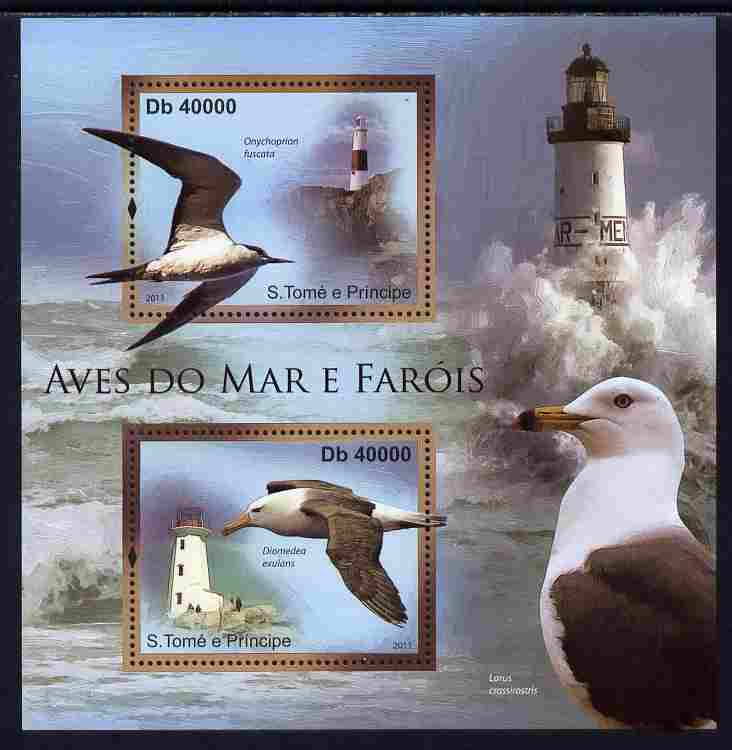 St Thomas & Prince Islands 2011 Sea Birds & Lighthouses perf sheetlet containing 2 values unmounted mint