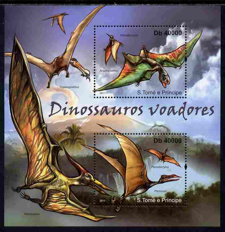 St Thomas & Prince Islands 2011 Flying Dinosaurs perf sheetlet containing 2 values unmounted mint