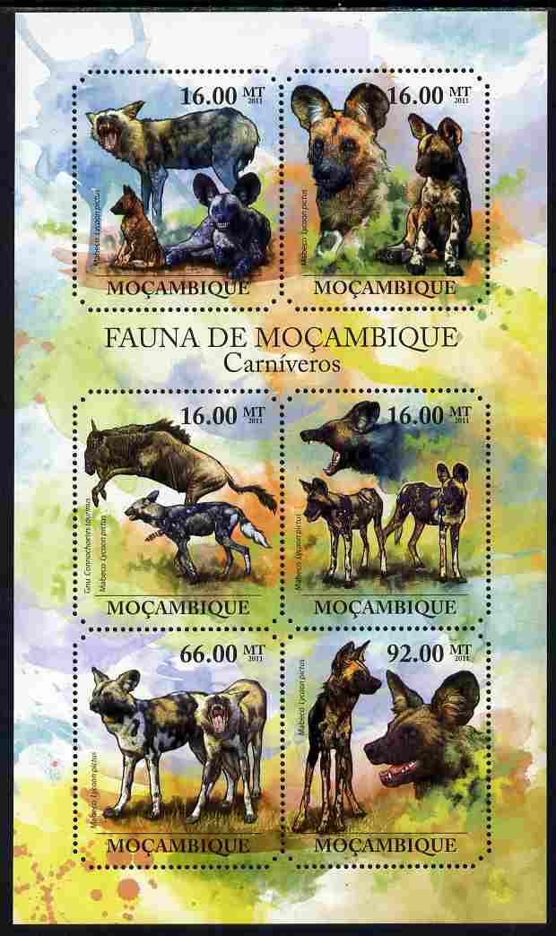 Mozambique 2011 African Wild Dog perf sheetlet containing six octagonal shaped values unmounted mint