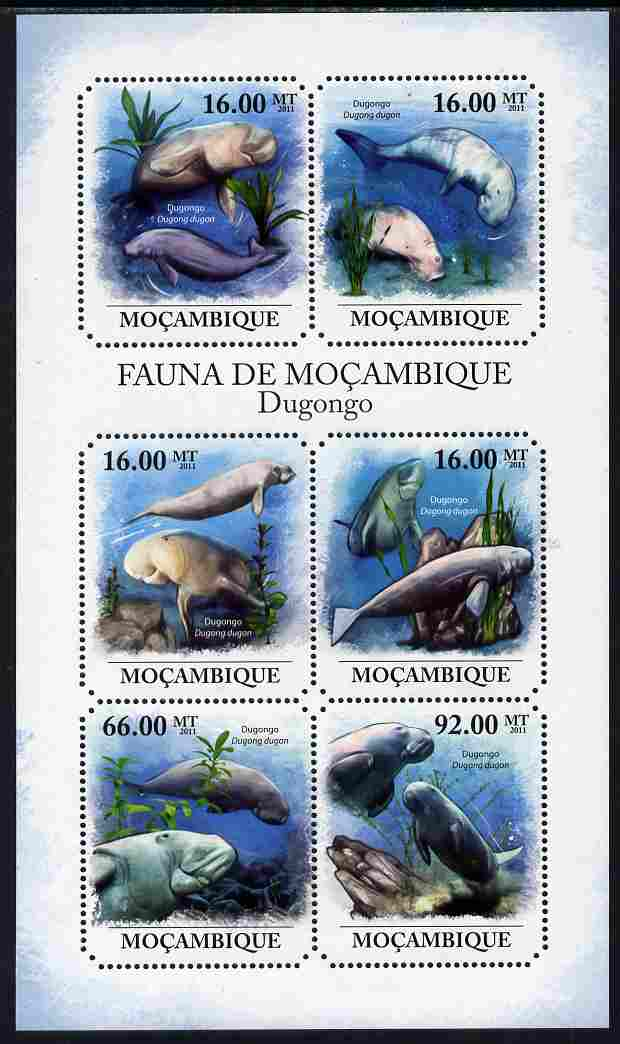 Mozambique 2011 Dugong perf sheetlet containing six octagonal shaped values unmounted mint