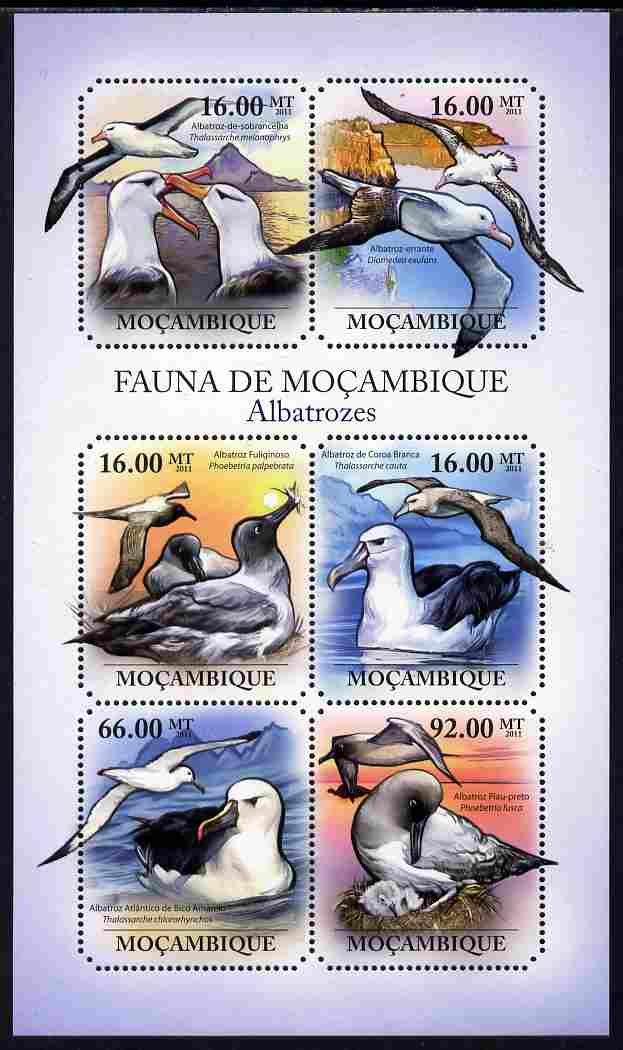 Mozambique 2011 Albatros perf sheetlet containing six octagonal shaped values unmounted mint