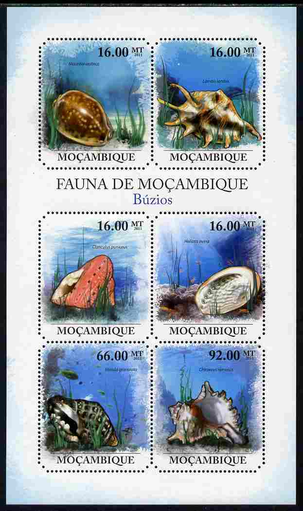 Mozambique 2011 Shells perf sheetlet containing six octagonal shaped values unmounted mint