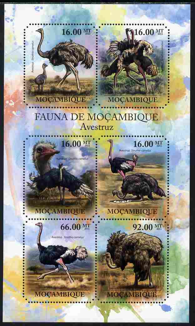 Mozambique 2011 Ostrich perf sheetlet containing six octagonal shaped values unmounted mint