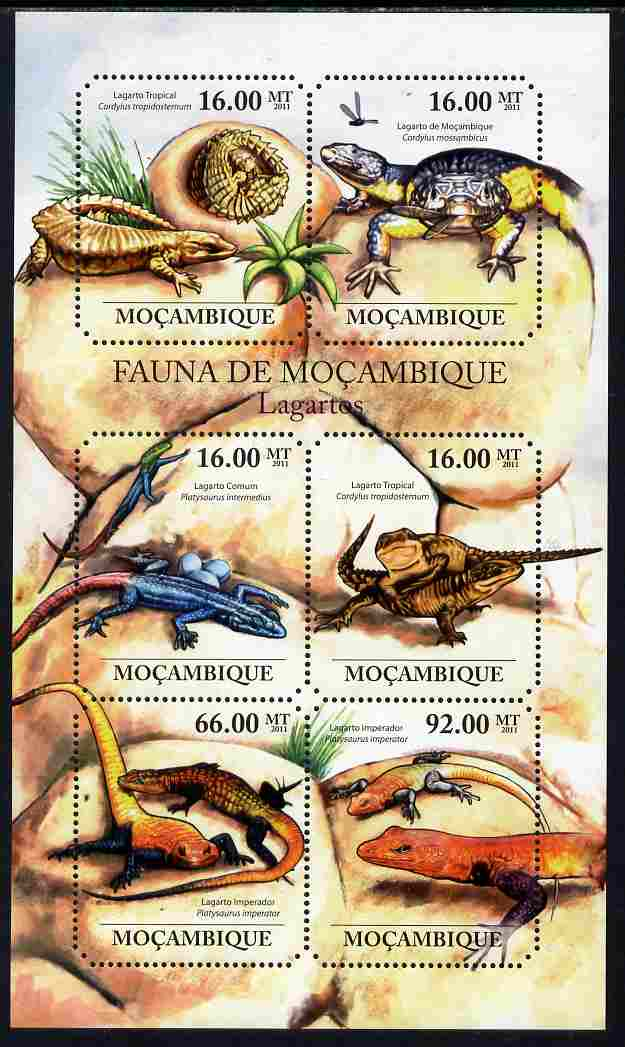 Mozambique 2011 Lizards perf sheetlet containing six octagonal shaped values unmounted mint