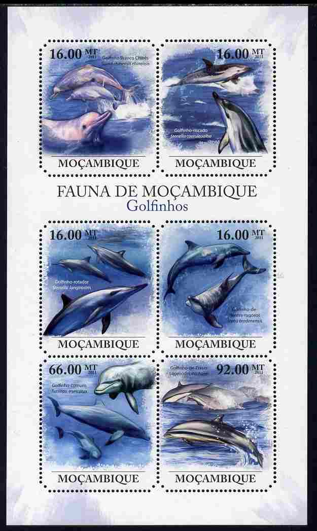 Mozambique 2011 Dolphins perf sheetlet containing six octagonal shaped values unmounted mint