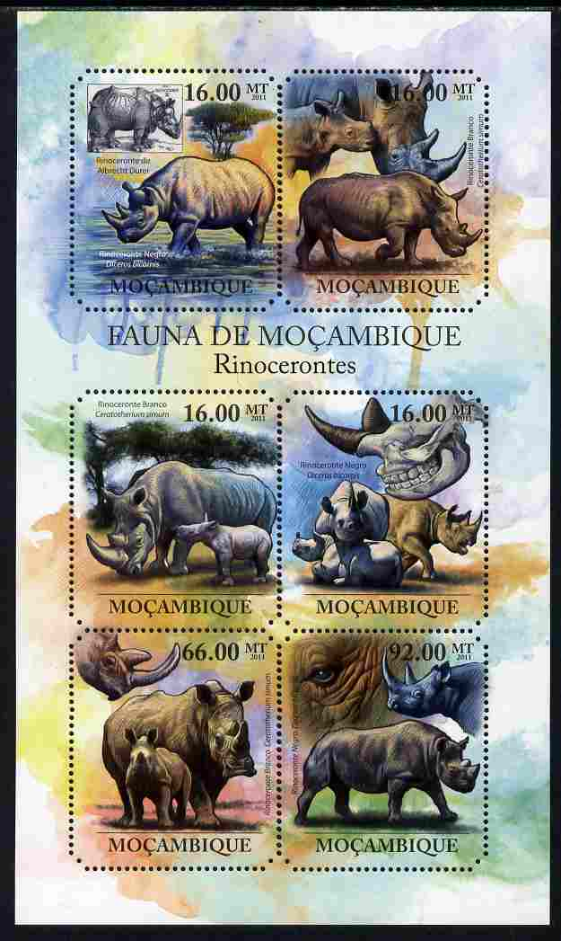 Mozambique 2011 Rhinos perf sheetlet containing six octagonal shaped values unmounted mint