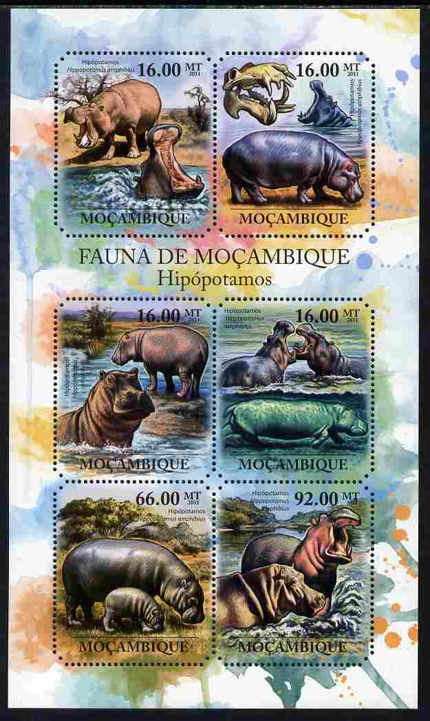 Mozambique 2011 Hippos perf sheetlet containing six octagonal shaped values unmounted mint