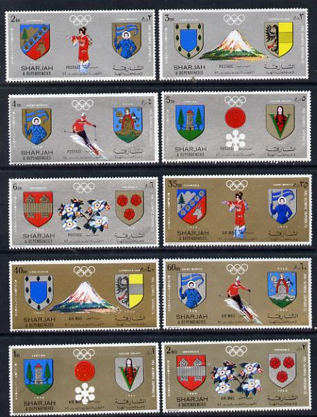 Sharjah 1972 Sapporo Winter Pre-Olympics set of 10 (Mi 825-34A) unmounted mint