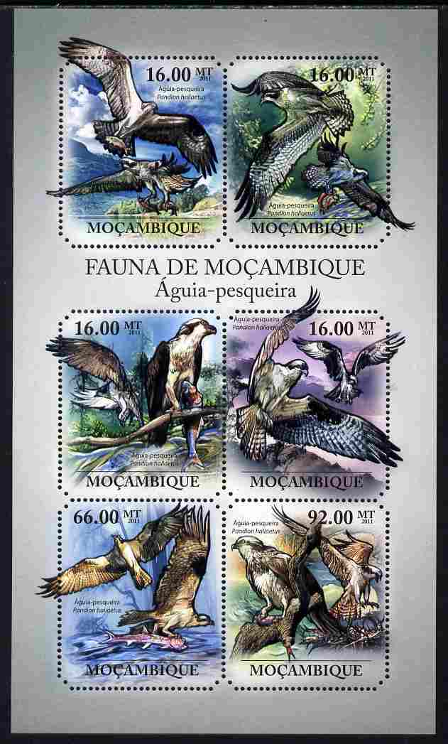 Mozambique 2011 Osprey perf sheetlet containing six octagonal shaped values unmounted mint , stamps on shaped, stamps on birds, stamps on osprey, stamps on bird of prey