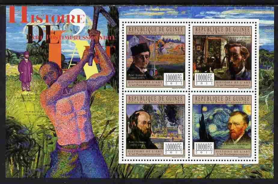 Guinea - Conakry 2011 History of Art - Post-Impressionist Art perf sheetlet containing 4 values unmounted mint