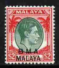 Malaya - BMA 1945-48 KG6 $2 green & scarlet mounted mint SG 16