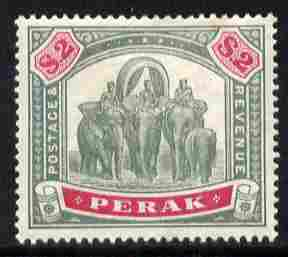 Malaya - Perak 1895-99 Elephants $2 green & carmine mounted mint SG 77