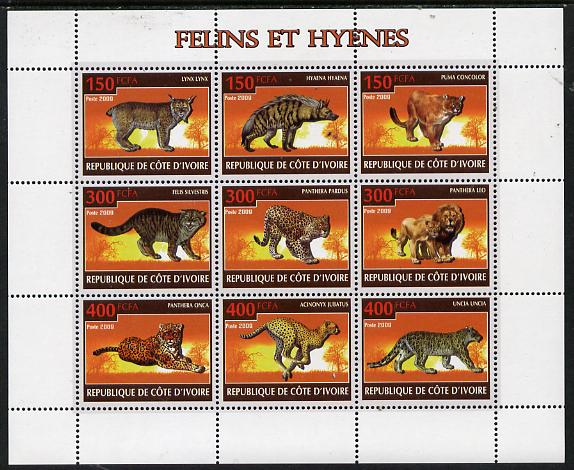 Ivory Coast 2009 Big cats & Hyenas perf sheetlet containing 9 values unmounted mint
